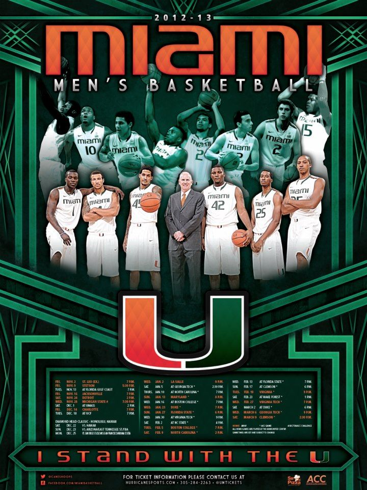 University Of Miami 2012 13 Men S Basketball Schedule Poster Designed By Aaron Villalobos I Old Hat Cre College Athletics University Of Miami Mens Basketball