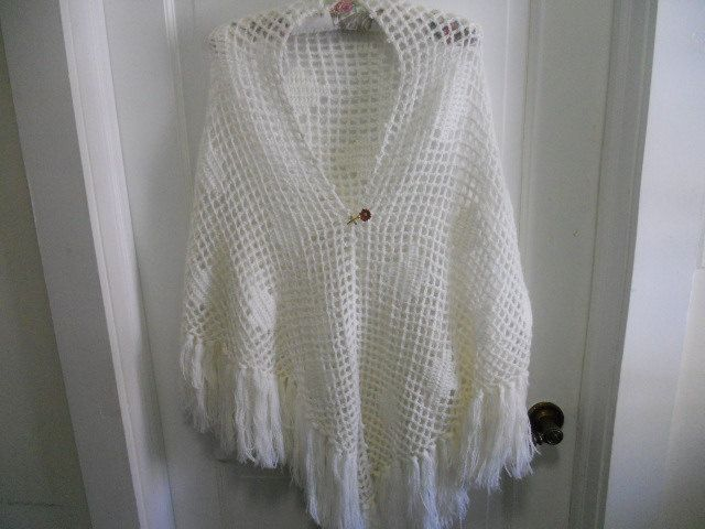 SALE Vintage hippie shawl/wrap/poncho with by SissysTouchOfGrey, $24.00