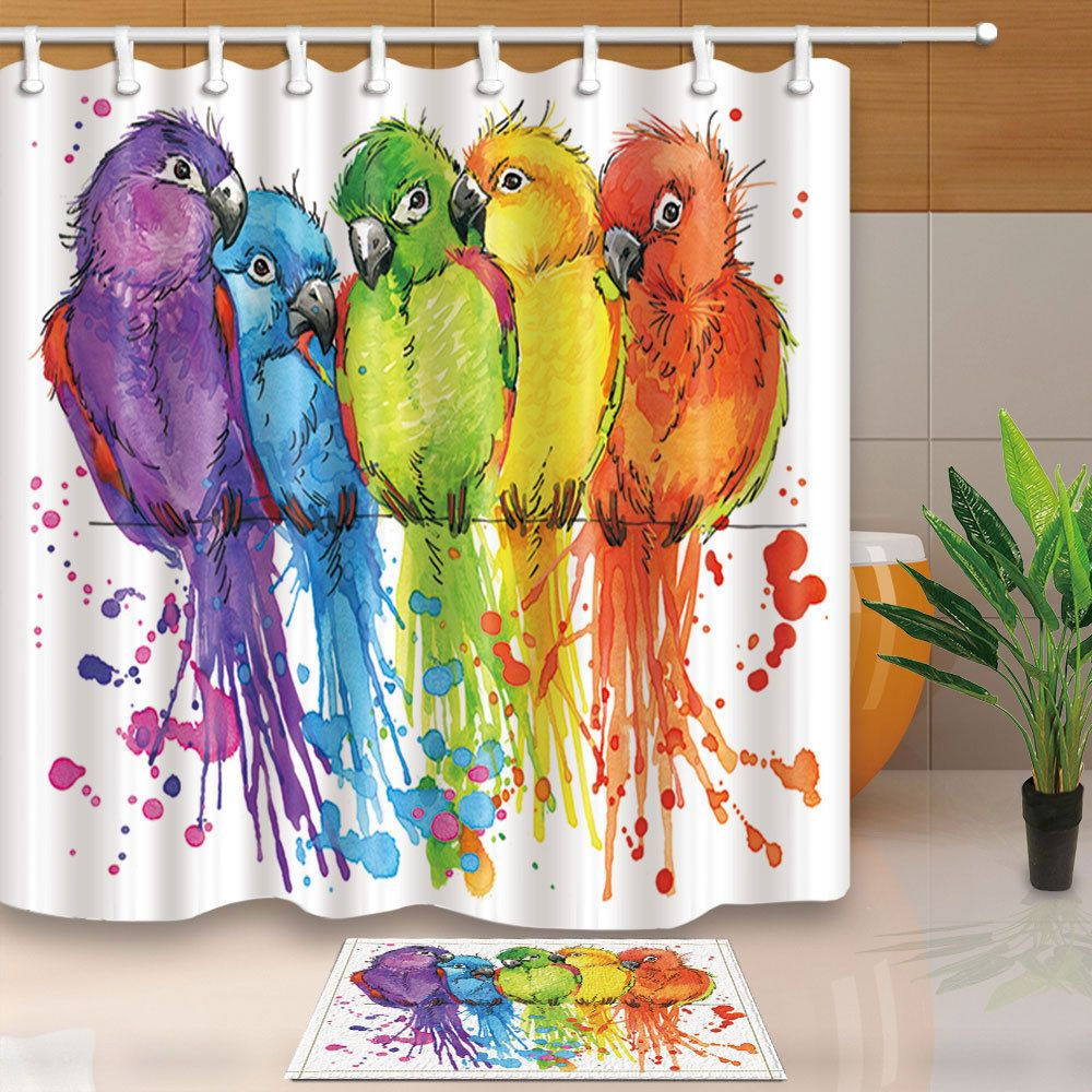 Rainbow Color Parrots Bird Theme Fabric Shower Curtain Bathroom
