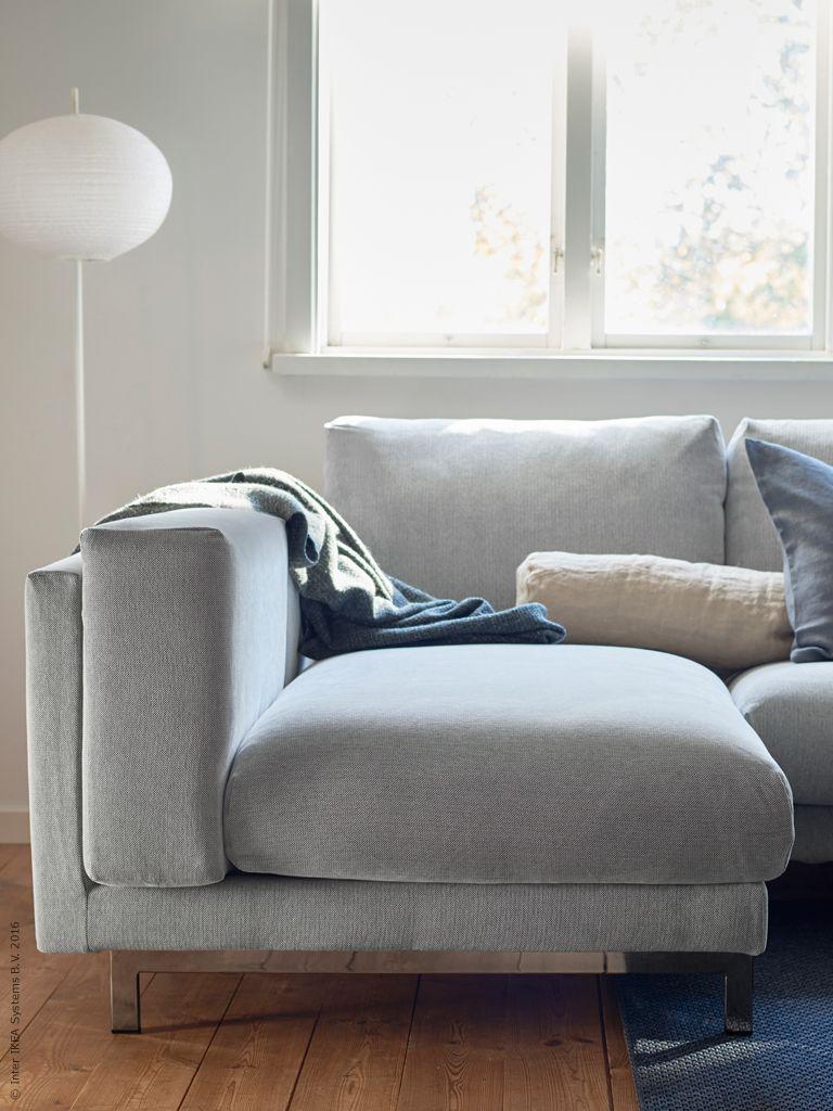 Nockeby 2 Sits Soffa Med Schäslong Till Vänster, Förkromade Ben Klädseln Kan Köpas Separat