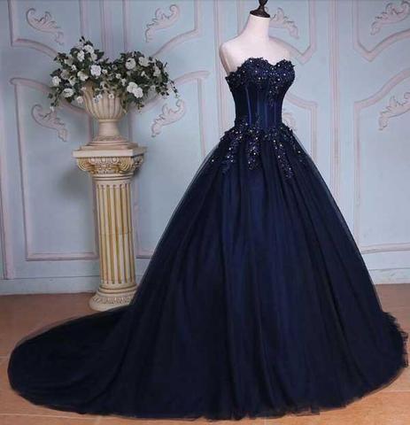 e5d4ca309b79 Navy Blue Ball Gown Court Train Sweetheart Strapless Appliques Prom Dress  OK625