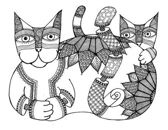 Coloring For Adults Cat Art Pages Zen Research Colouring Printable Books Sheets