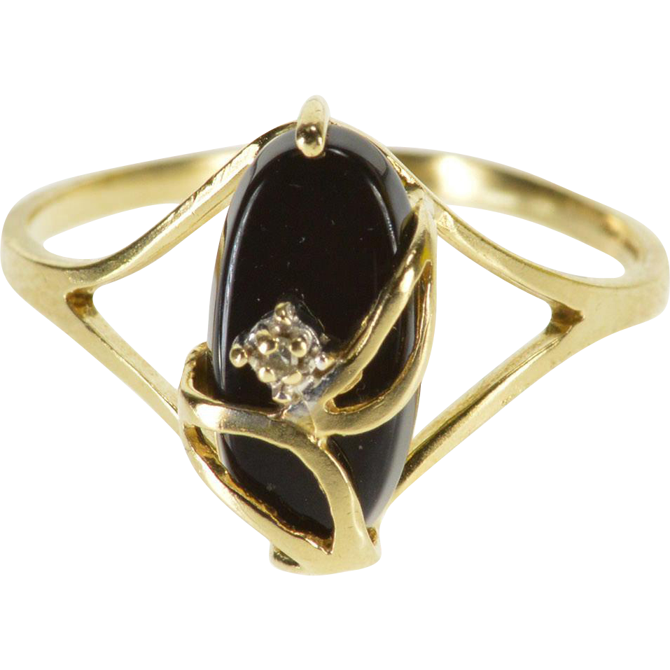 Fine Jewelry Womens Black Onyx 10K Gold Cocktail Ring