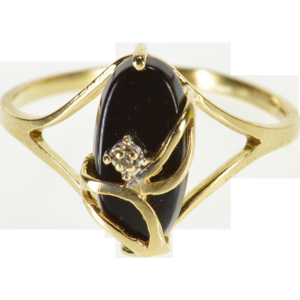 Fine Jewelry Womens Black Onyx 10K Gold Cocktail Ring k00MNzz