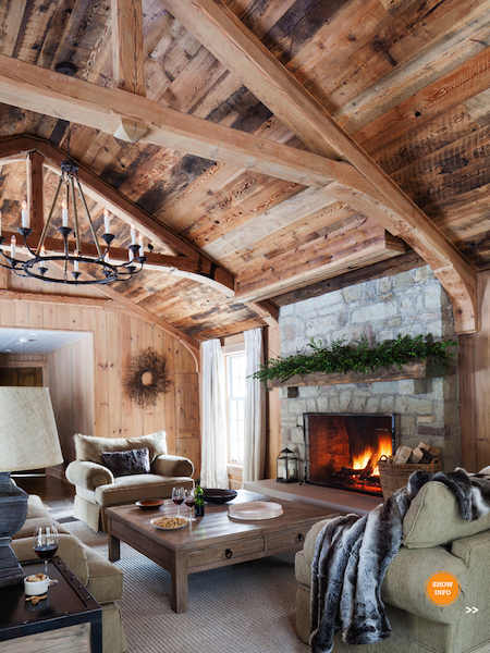 Cabin Family Room With Vaulted Wood Ceiling Exposed Beams And Fireplace