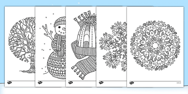 Winter Themed Mindfulness Colouring Sheets Mindfulness Colouring Mindfulness Colouring Sheets Coloring Pages