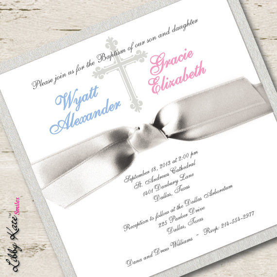 Twin Baptism Invitation Twin Christening Invitation Boy and Girl - sample baptismal invitation for twins