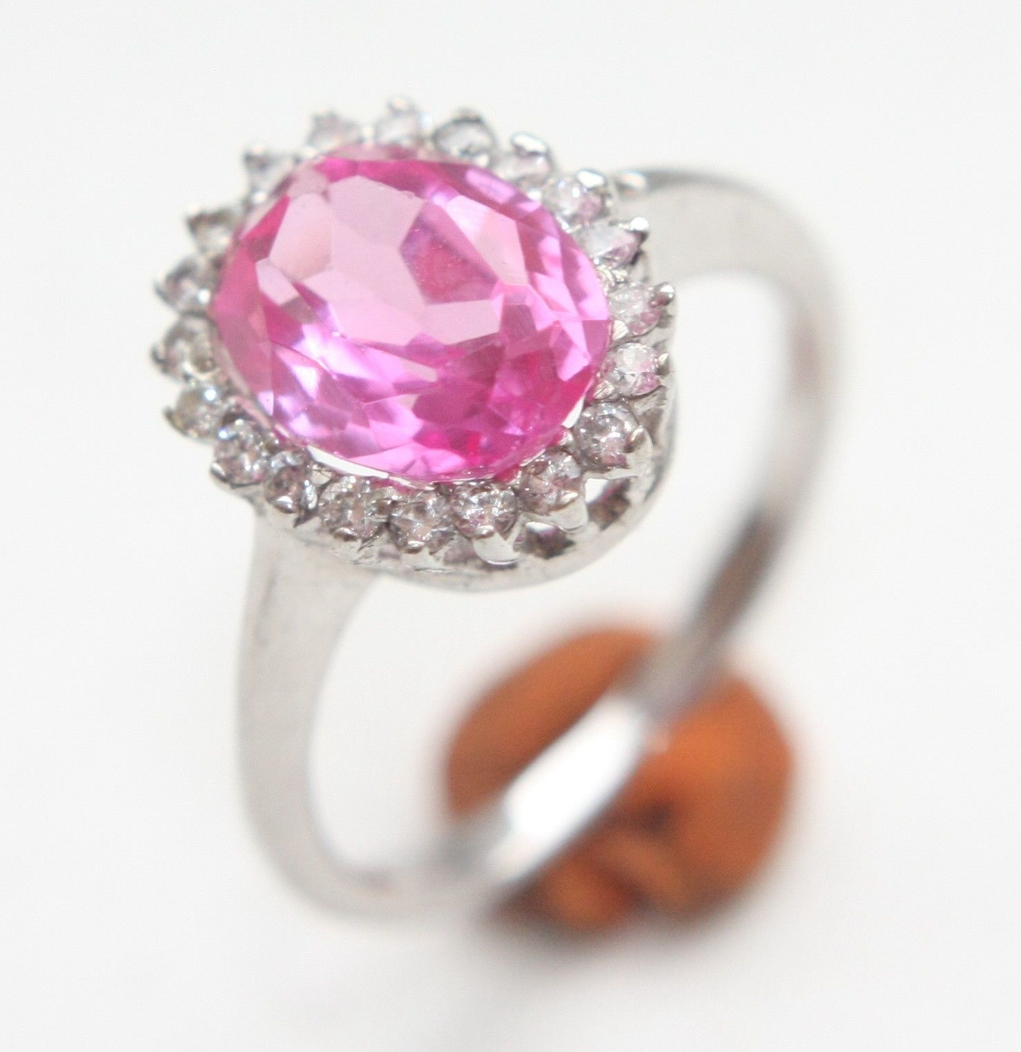 Sterling Silver Ring With Pink Tourmaline Gemstone Inlay (Size 6.75 ...