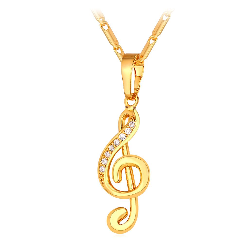 musical note gold white necklace in treble boutique pendant clef