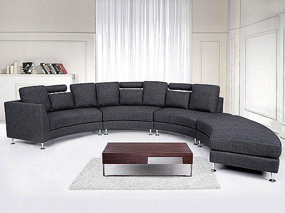 Dieses Sofa Besticht Mit Seiner Extravaganten Form Es Ist Mit Hohenverstellbaren Kopfstutzen Und Fussen Aus Chrom Ausgestat Ecksofas Ecksofa Design Sofa Design