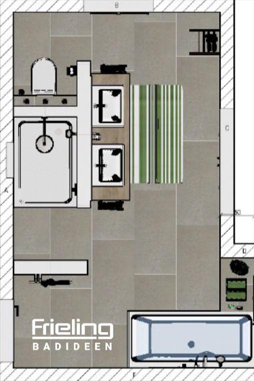 Photo of Das Bad mit T-Wand | 3D-Planung Vogelperspektive | Badezimmerplanung | Grundriss