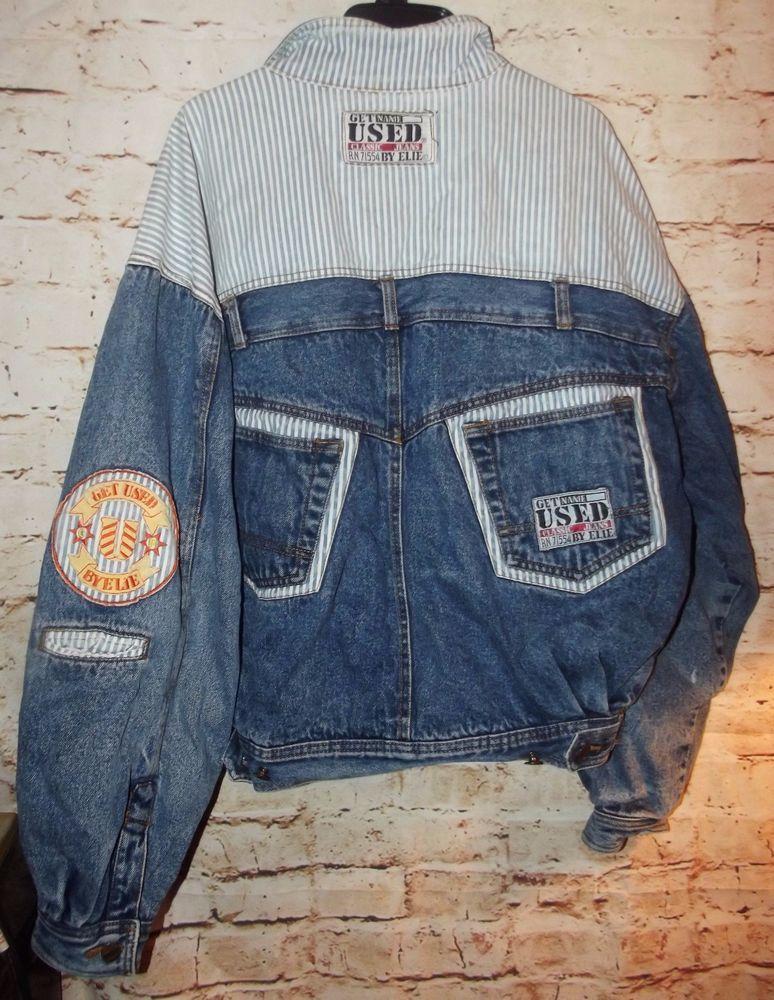 4b8ffa4a3cd3 Vintage 80s GET USED BY ELIE Denim Jean Coat Jacket Men s L Women s XL   GETUSEDbyElie  Denim