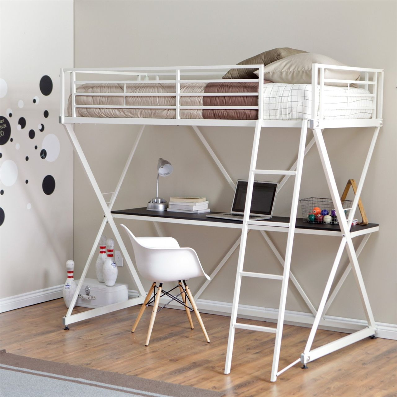 Best Modern Twin Bunk Bed Loft With Desk In White Metal Finish 400 x 300