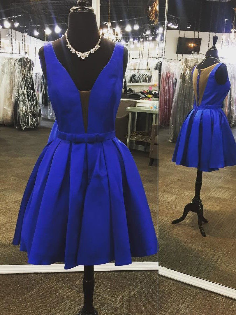 Aline vneck royal blue cheap homecoming dresses apd short