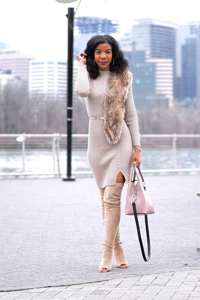 2b9a104f7 Khaki SheIn Sweater Dress, Tan Faux Fur Scarf, Taupe Peep Toe OTK Boots  Wheat Longline Coat, Taupe Over The Knee Boots, Tauper Peep Toe Over The  Knee Boots, ...