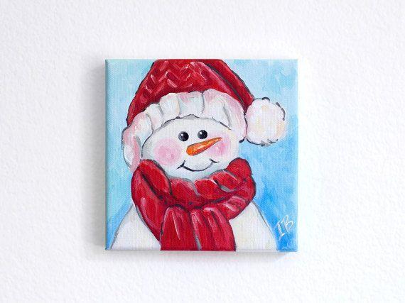 Cute Christmas Painting Snowman Acrylic Canvas Art 6x6x 5 Decor Original Paintings
