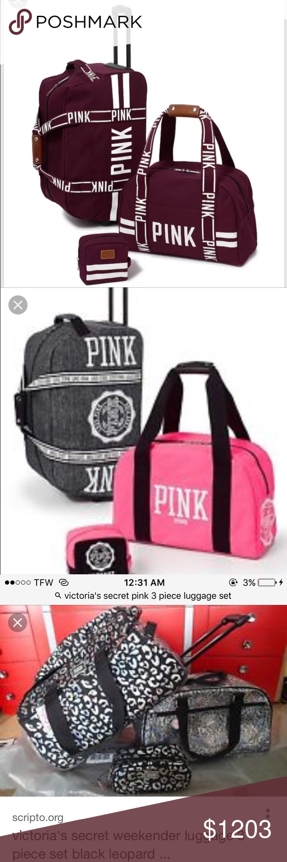 ISO Anyone have one of these three luggage sets? PINK Victoria's Secret Other