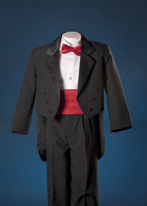Ring Bearer Tuxedos | Dane\'s Ring Bearer Tux with Tails. Red Bowtie ...