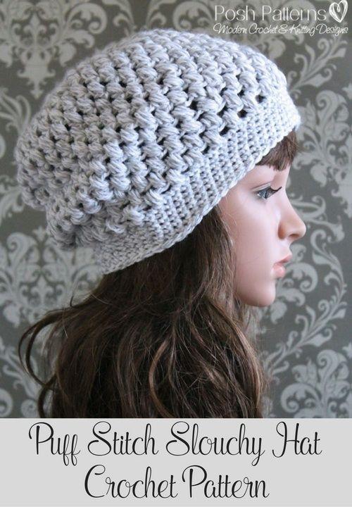 Puff Stitch Slouchy Hat Crochet Pattern | Pinterest | Gehäkelte ...
