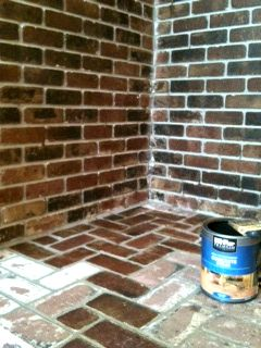 How To Stain Brick Here S What You Need Concrete Stain They Have Lots Of Color Options Paint Brush The Stained Brick Brick Fireplace Stained Concrete