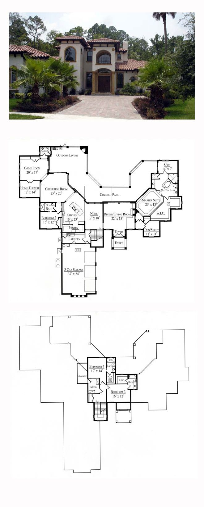 Southwest house plan 74217 total living area 4932 sq for Southwest house floor plans