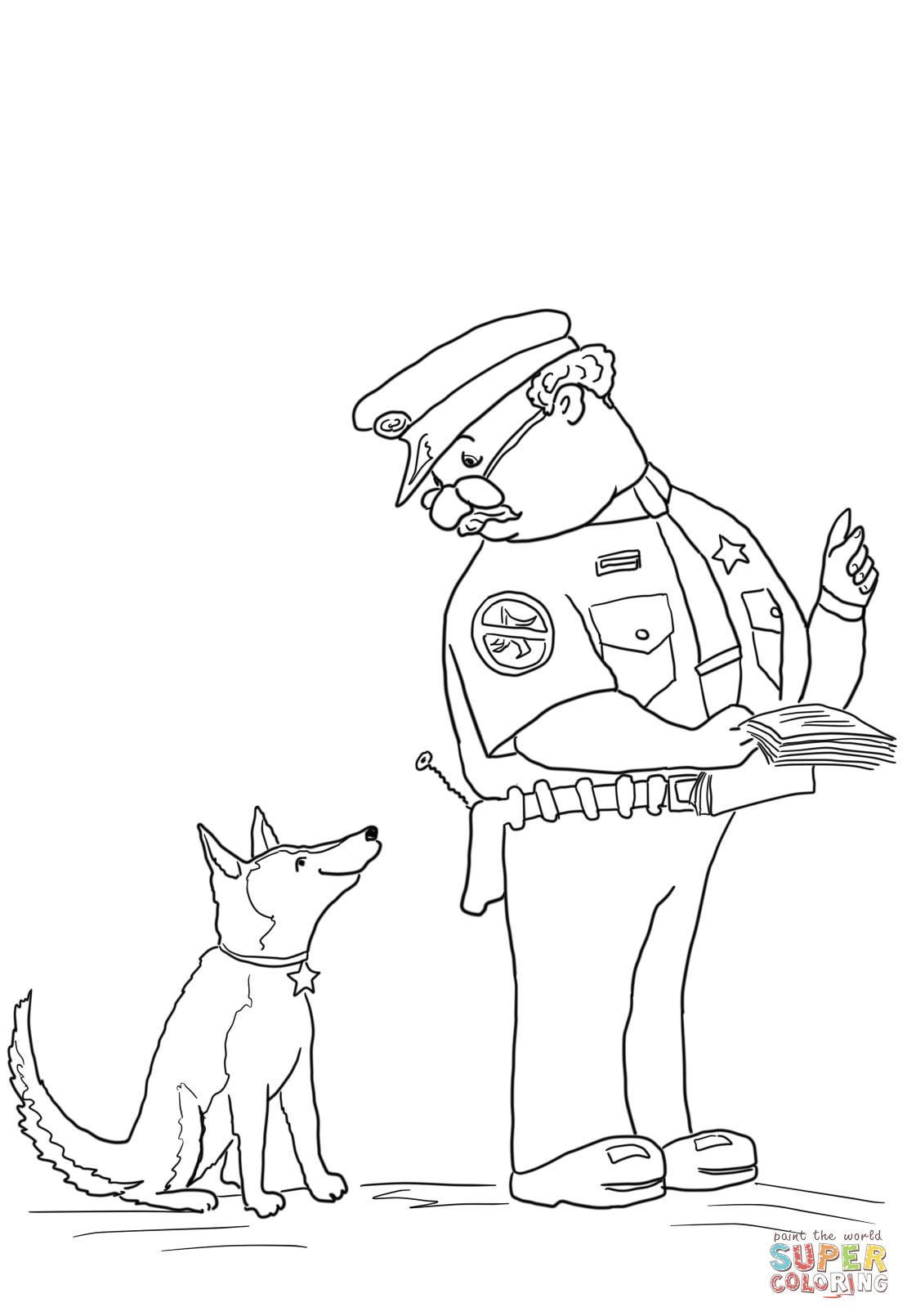Officer Buckle and gloria with paper work coloring page