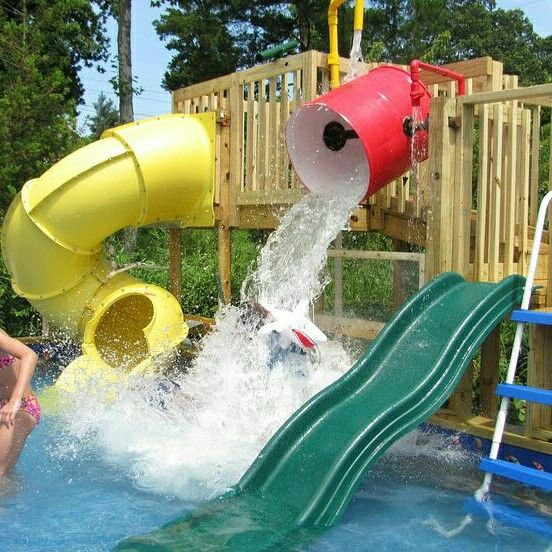Look At This Fabulous Backyard Water Park. It Has A Dump Bucket, Slides,  Wateru2026