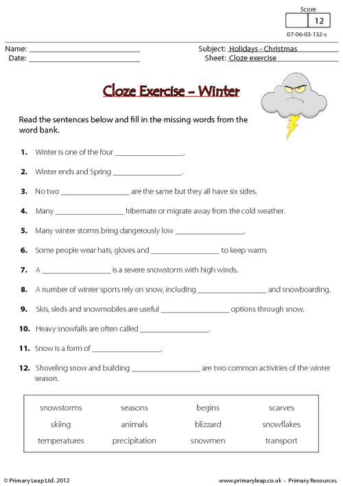 cloze exercise winter worksheet venotha worksheets english grammar. Black Bedroom Furniture Sets. Home Design Ideas