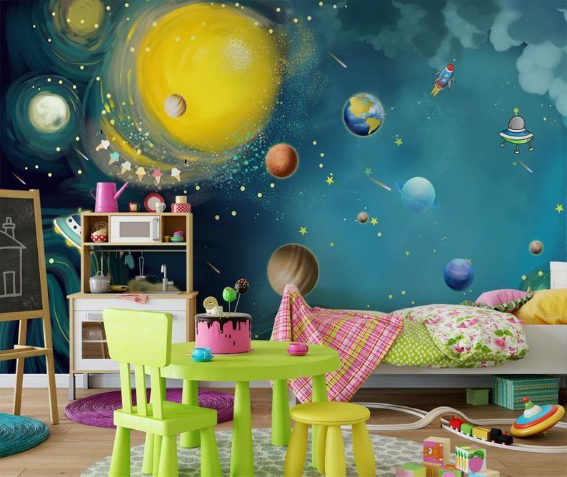 Blue Space Wallpaper Kids Bedroom Wall Mural Peel And Stick Etsy Kids Bedroom Walls Playroom Wall Decor Nursery Wallpaper