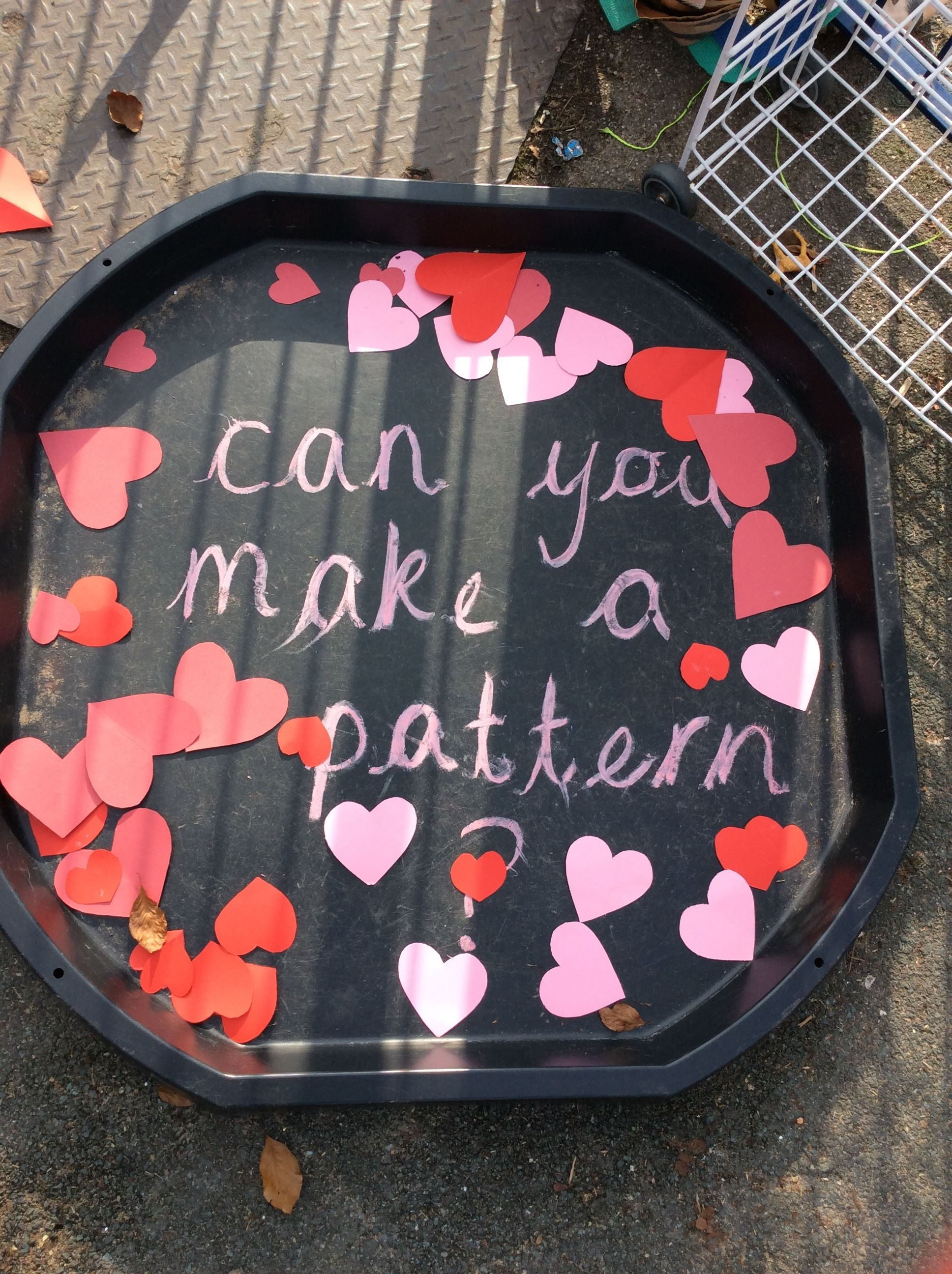 Eyfs Create A Pattern Outside Using Valentine S Day Hearts