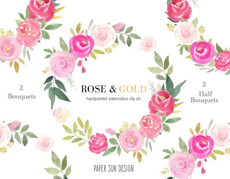 Handpainted Watercolor Floral Wreath Pink And Gold Roses Png Etsy Floral Wreath Watercolor Wedding Stationary Design Floral Watercolor