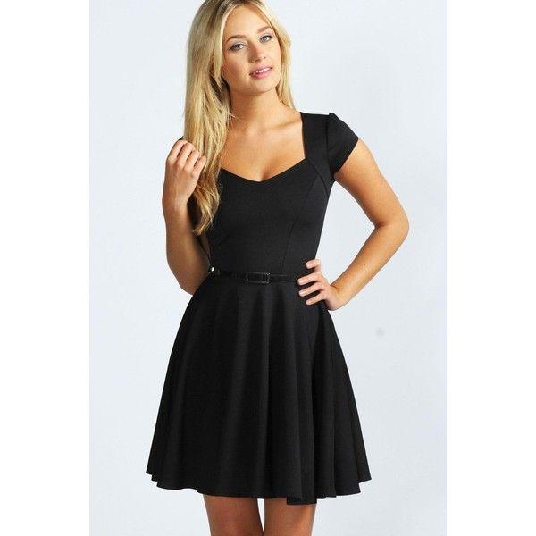 fe1fd9998d50 Boohoo Night Lara Sweetheart Neck Skater Dress ($35) ❤ liked on Polyvore  featuring dresses, black, fit & flare dress, sparkly dresses, cap sleeve  dress, ...