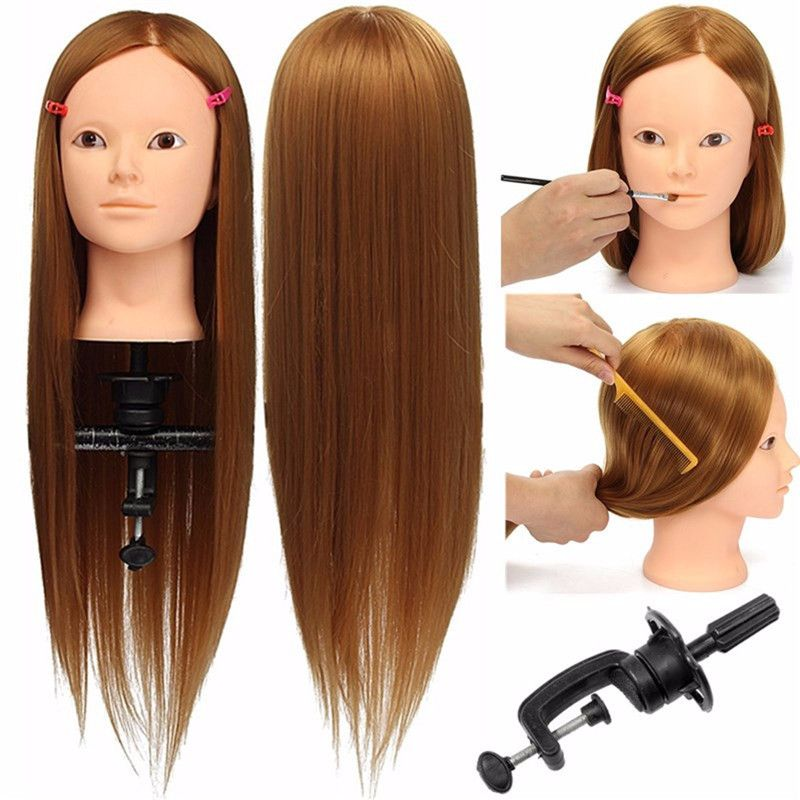 24 Hairdressing Makeup Training Practice Head Doll Face Golden Hair Mannequin Manikin Clamp For Cosmetology H Hair Mannequin Makeup Practice Head Human Hair