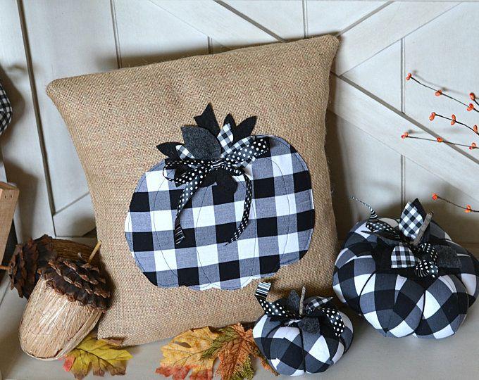 Fabric Pumpkins, Black and White Pumpkin, Buffalo Plaid Pumpkin, Black White Fall Decor, Farmhouse Pumpkin Decor, Rustic Fall, Halloween