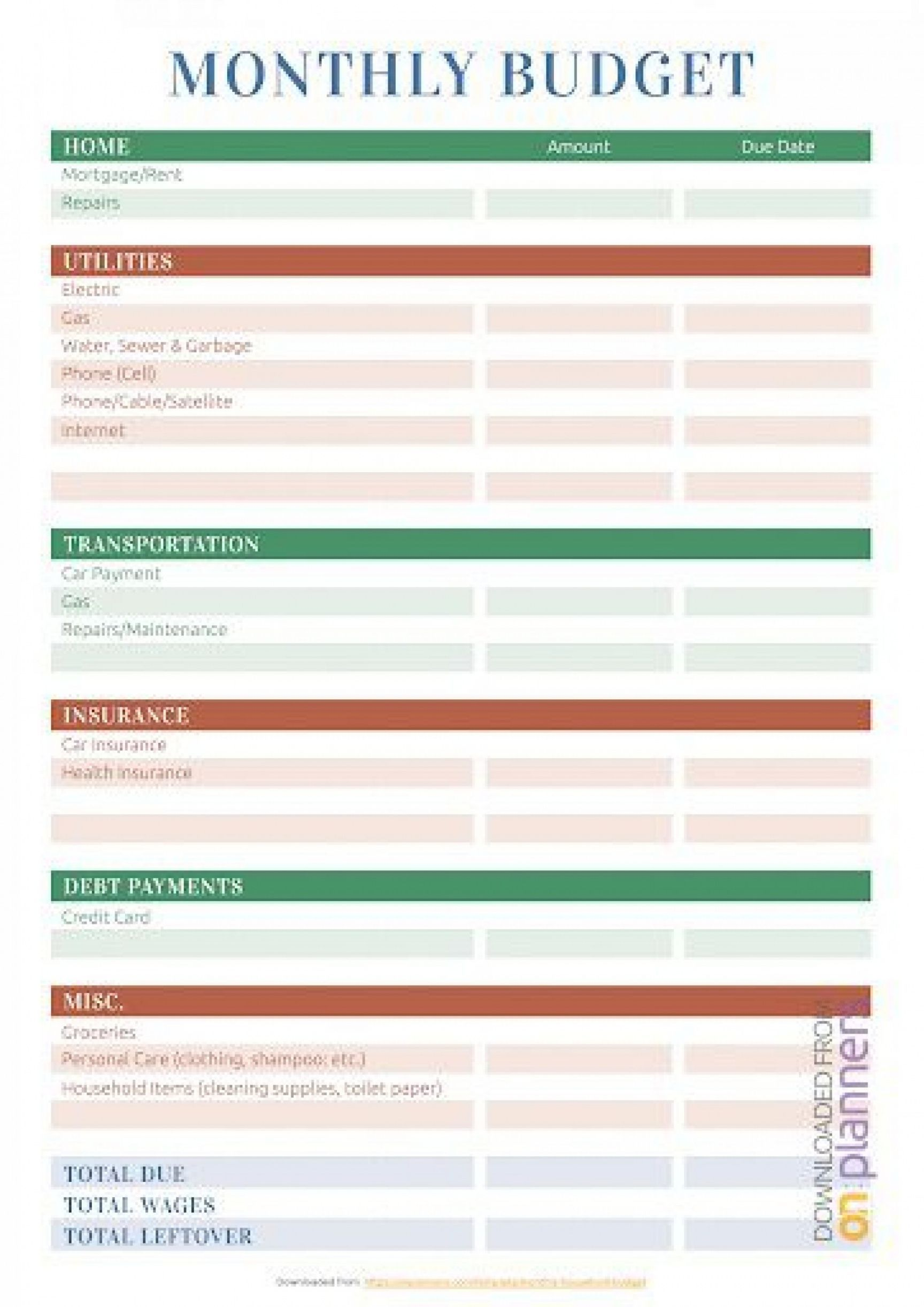 Browse Our Example Of Personal Household Budget Template