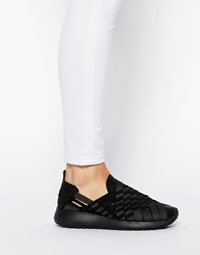 nike woven roshe run slip on trainers for women