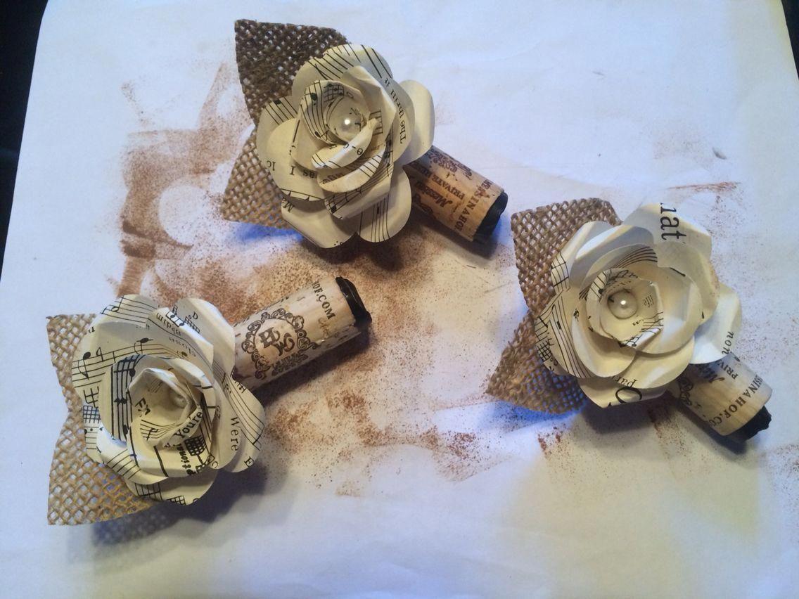 Wedding Boutonnières. Burlap, Wine Cork, Paper Flowers