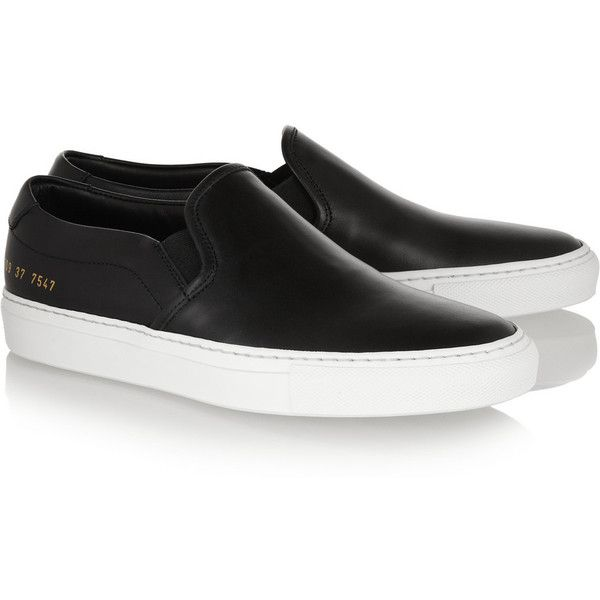 Common Projects Leather slip-on sneakers (3.020 NOK) ❤ liked on Polyvore featuring shoes, sneakers, flats, trainers, common projects sneakers, leather slip on sneakers, slip-on sneakers, pull on sneakers and common projects shoes