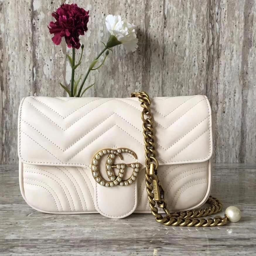 a2728b448b419 Gucci GG Marmont Chain Belt Bag With Pearls 476809 White 2017  Guccihandbags
