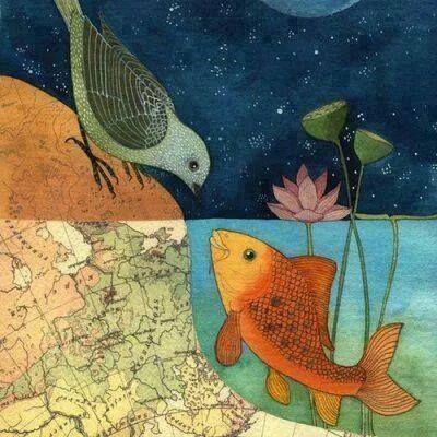 قد يعشق العصفور سمكه ولـكن أي ن سـيعيشان سيظل العصفور يطير في دنيا الاحزان أو يحاول ان يسبح فيموت Art Bird Art Fish Art