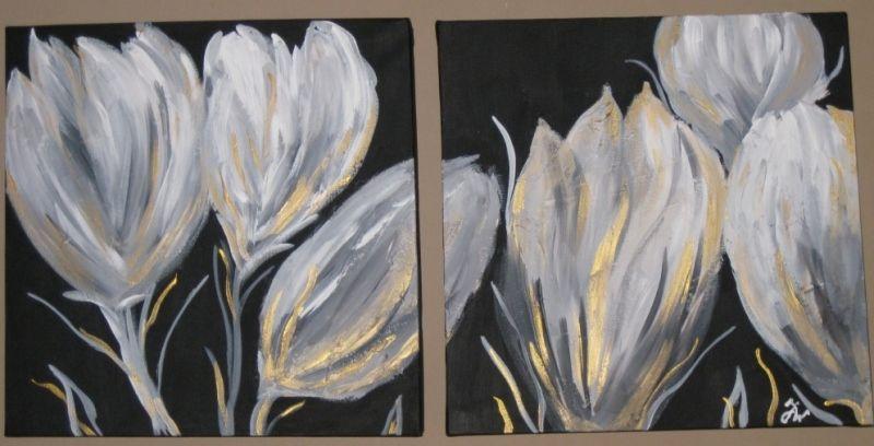 Tulpen zwart wit schilderij