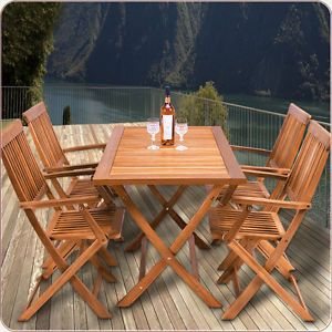 Salon DE Jardin Bois Ensemble Table 4 Chaises Pliant Manger ...