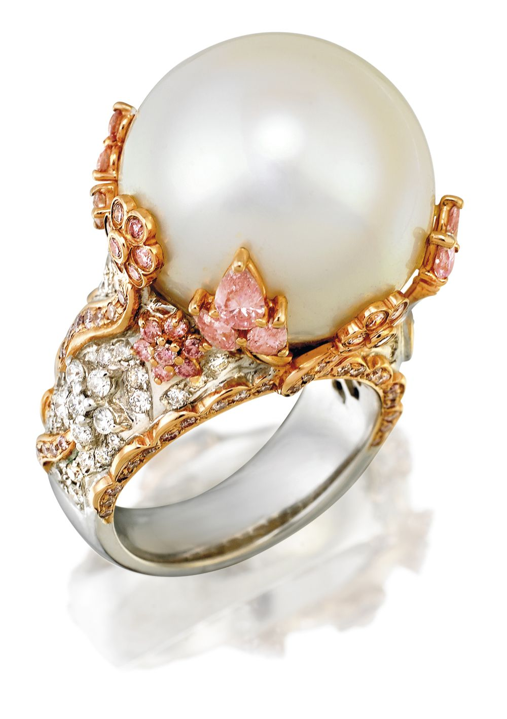 Mikimoto Pearl Engagement Ring