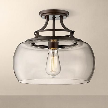 Charleston bronze 13 1 2 wide clear glass ceiling light 3w819 lamps plus