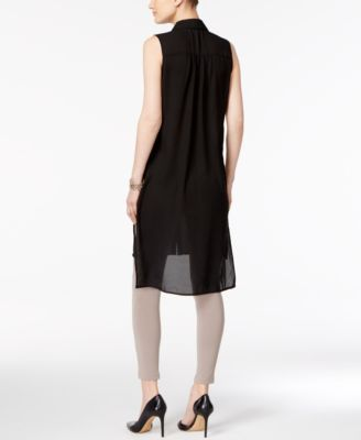 Cable Gauge Mesh Trim High Low Tunic Black Xl Products Cable