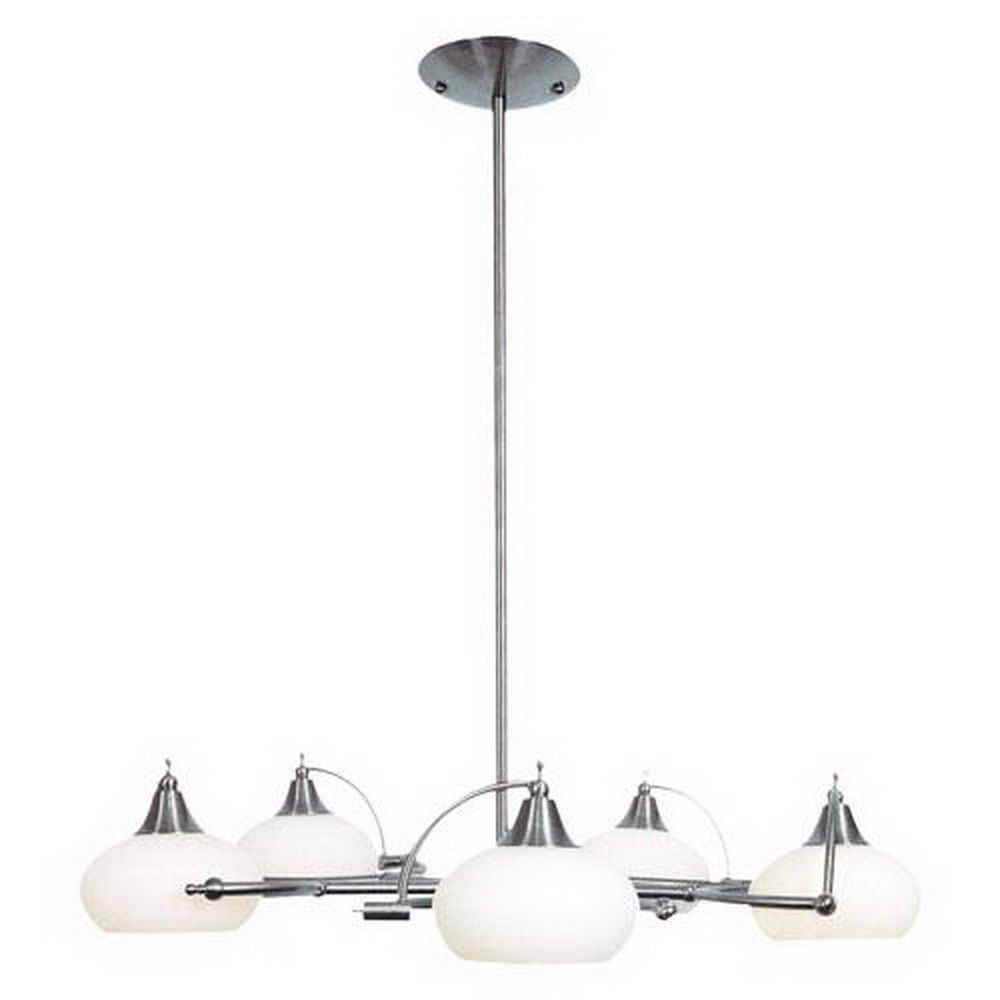 Ulextra Lighting P42-5 SCH Five Light Hanging Chandelier in Satin Chrome Finish