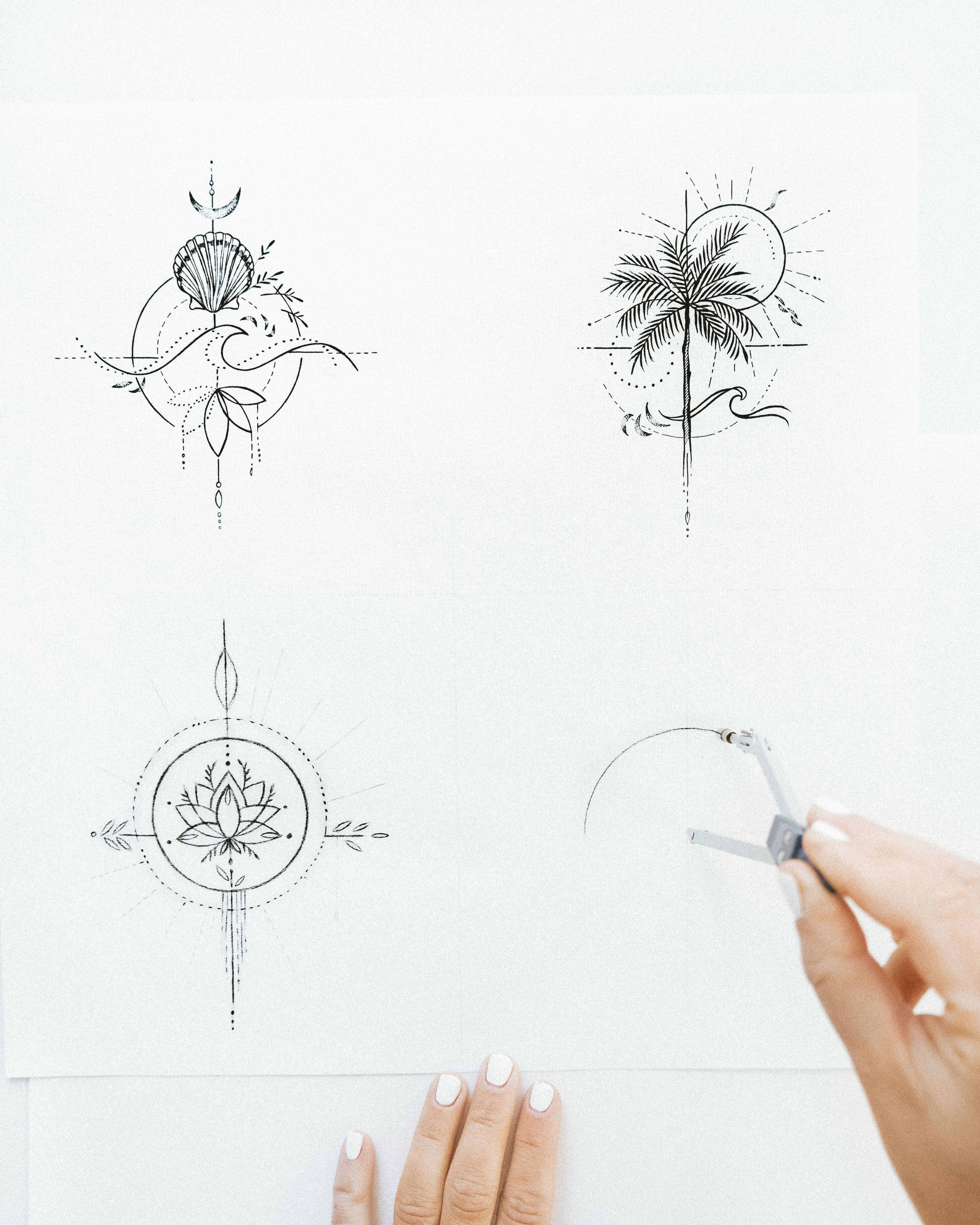 Travel tattoo – palm tree, wave, lotus line-drawing artwork perfect for small tiny tattoo idea