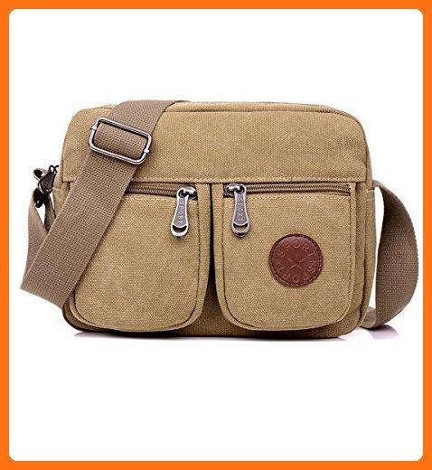 15e80f69d16 Degohome Casual Canvas Backpack Crossbody Sling Bag Shoulder Bag Chest Bag  (Khaki) - Shoulder bags ( Amazon Partner-Link)
