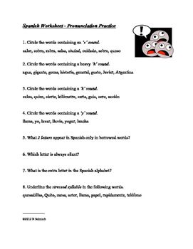 Free Common Core Worksheets Spanish Pronunciation Worksheet  La Pronunciacin  Spanish  Daniel Boone Worksheets Excel with Ecological Succession Worksheet Key Pdf Spanish Pronunciation Worksheet  La Pronunciacin Multiplication Worksheets With Answers Word