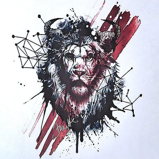 Creative Drawing Of The Lion Style Trash Polka Style Trash Polka Color Black Tags Creative A Trash Polka Lion Tattoo Design Trash Polka Tattoo Designs